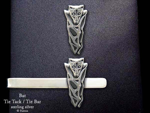 Bat Tie Bar Tie Tack Sterling Silver
