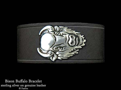 Bison Buffalo Head on Leather Bracelet