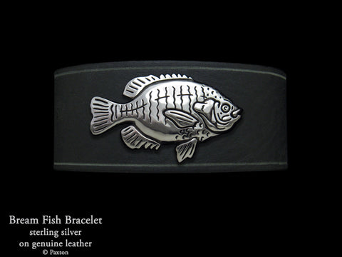 Bream Fish Bracelet Sterling Silver on Genuine Leather