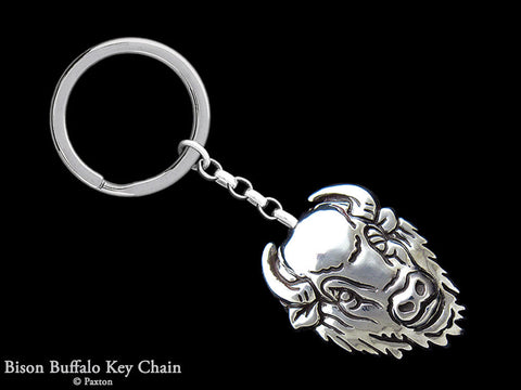 Buffalo Bison Key Chain Sterling Silver