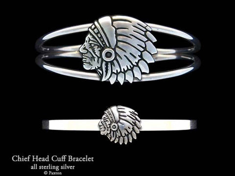 Indian Chief Head Cuff Bracelet