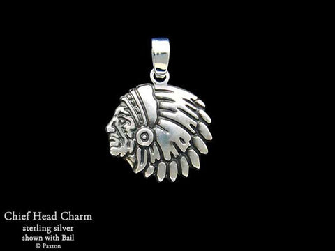 Chief Indian Head Charm Necklace sterling silver