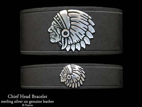 Chief head on Leather Bracelet