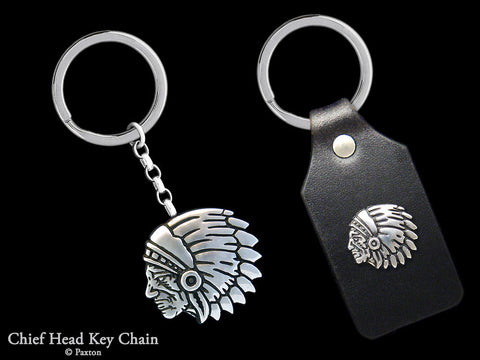 Chief Indian Head Key Chain Sterling Silver