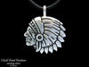 Indian Chief Head Pendant Necklace sterling silver