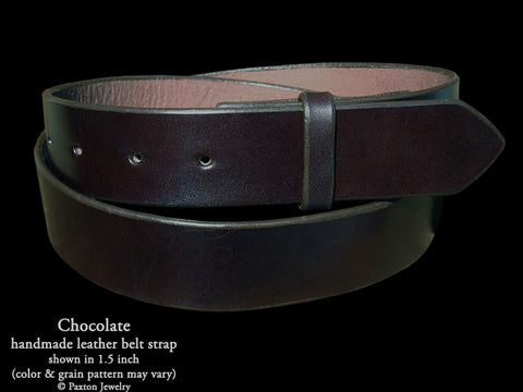 Chocolate Brown Leather Belt Strap handmade