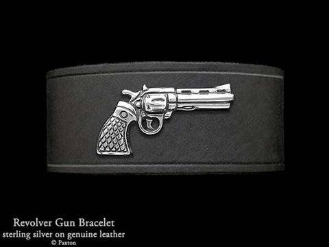 Rick Grimes Revolver on Leather Bracelet