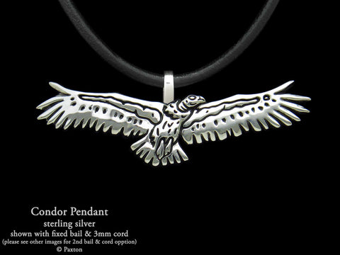 Condor Bird Pendant Necklace Sterling Silver