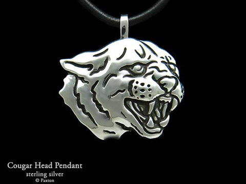 Cougar Head Pendant Necklace sterling silver