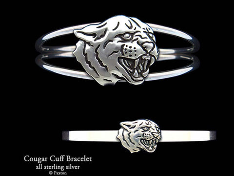 Cougar Panther Head Cuff Bracelet