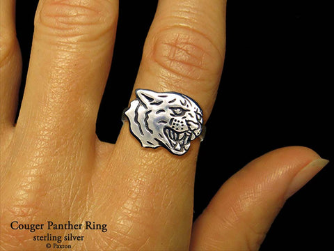 Cougar Panther Head ring sterling silver
