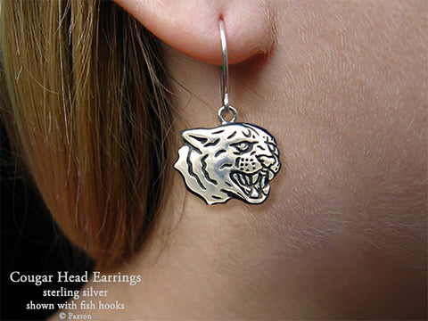 Cougar Head Earrings fishhook sterling silver