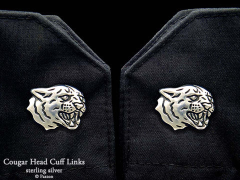 Cougar Head Cuff Links sterling silver