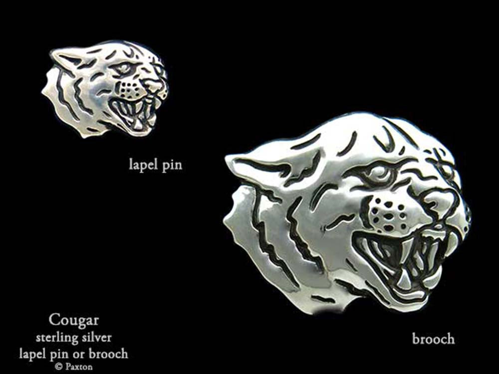 0cb47c82aeb30 Cougar Lapel Pin or Cougar Brooch in Sterling Silver by Paxton Jewelry