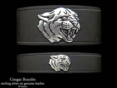 Cougar Panther on Leather Bracelet
