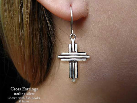 Cross Earrings fishhook sterling silver