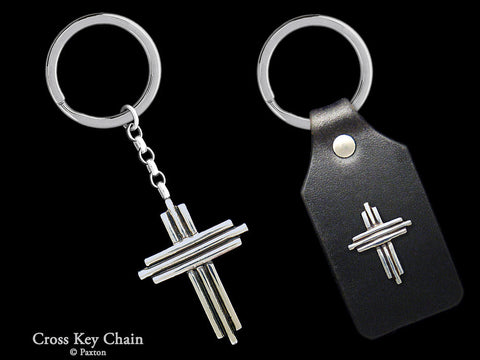 Cross Key Chain Sterling Silver