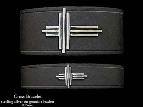 Cross on Leather Bracelet