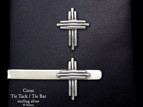 Cross Tie Tack Tie Bar Sterling Silver