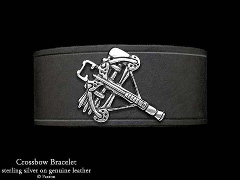 Daryl Dixon Crossbow on Leather Bracelet
