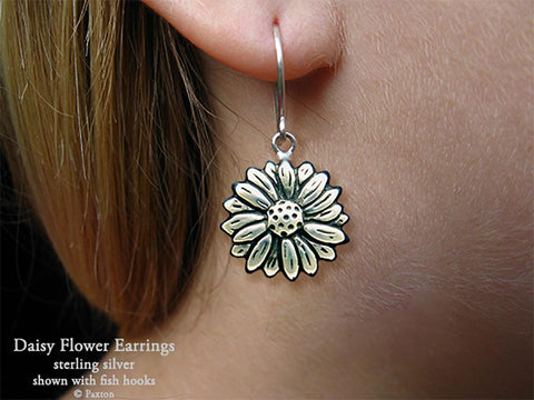 Daisy Flower Earrings fishhook sterling silver