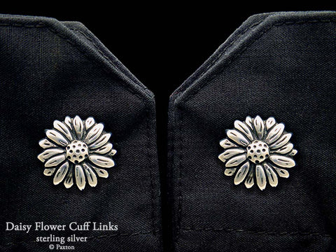 Daisy Flower Cuff Links sterling silver