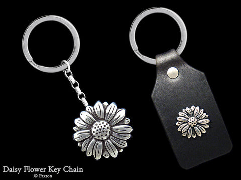 Daisy Flower Key Chain Sterling Silver