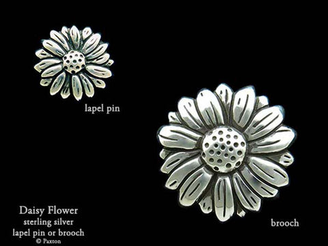 Daisy Flower Lapel Pin Brooch sterling silver