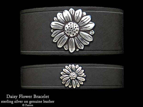 Daisy Flower on Leather Bracelet