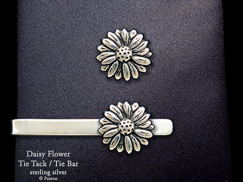 Daisy Flower Tie Tack Tie Bar Sterling Silver
