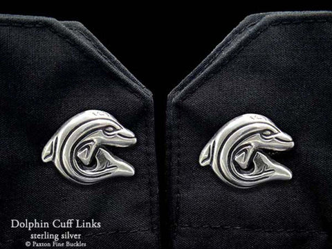 Dolphin Cuff Links sterling silver