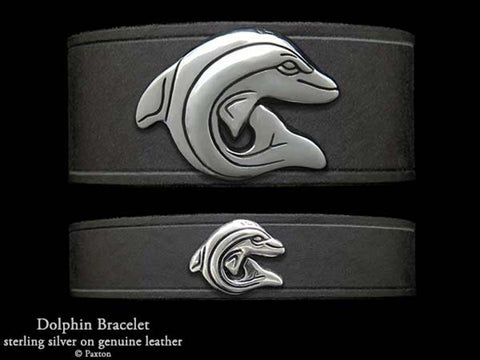 Dolphin on Leather Bracelet