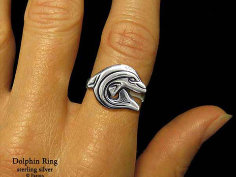 Dolphin ring sterling silver