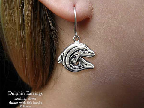 Dolphin Earrings fishhook sterling silver