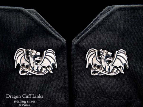 Dragon Cuff Links sterling silver