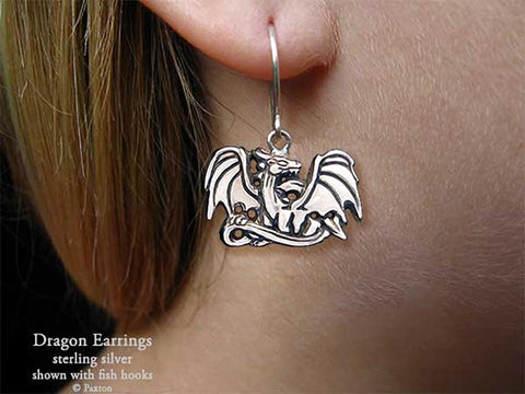 Dragon Earrings fishhook sterling silver