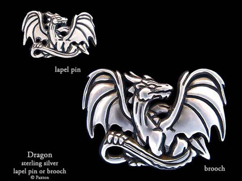 Dragon Lapel Pin Brooch sterling silver