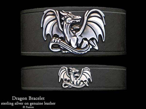 Dragon on Leather Bracelet