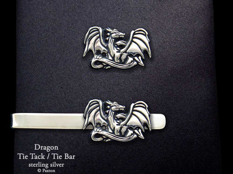 Dragon Tie Tack Tie Bar Sterling Silver