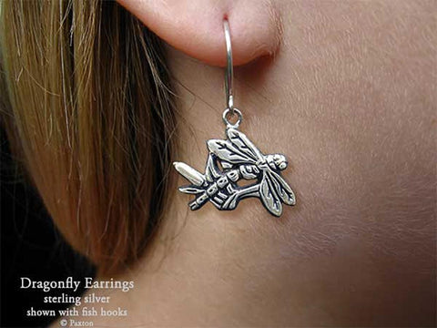 Dragonfly Earrings fishhook sterling silver