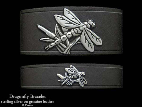 Dragonfly on Leather Bracelet