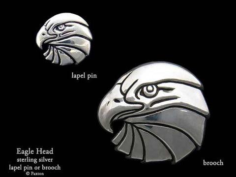Eagle Head Lapel Pin Brooch sterling silver