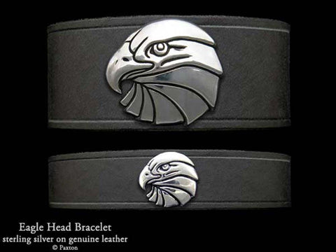 Eagle head on Leather Bracelet