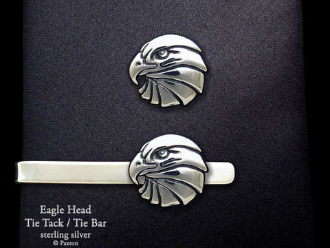 Eagle Head Tie Tack Tie Bar Sterling Silver