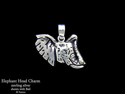 Elephant Head charm necklace sterling silver