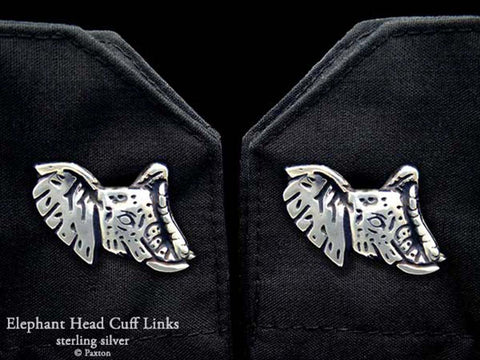 Elephant Head Cuff Links sterling silver