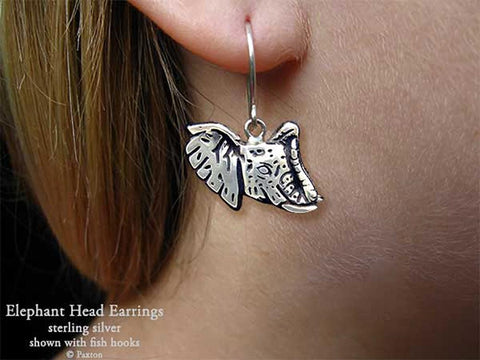 Elephant Head Earrings fishhook sterling silver