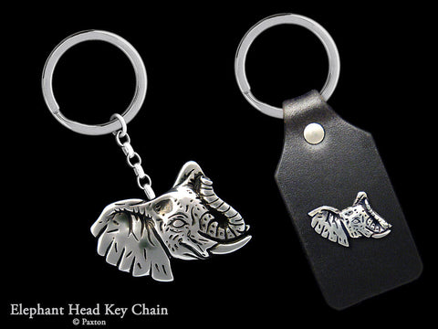 Elephant Head Key Chain Sterling Silver