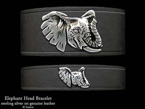Elephant Head on Leather Bracelet