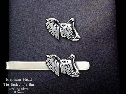 Elephant Head Tie Tack Tie Bar Sterling Silver